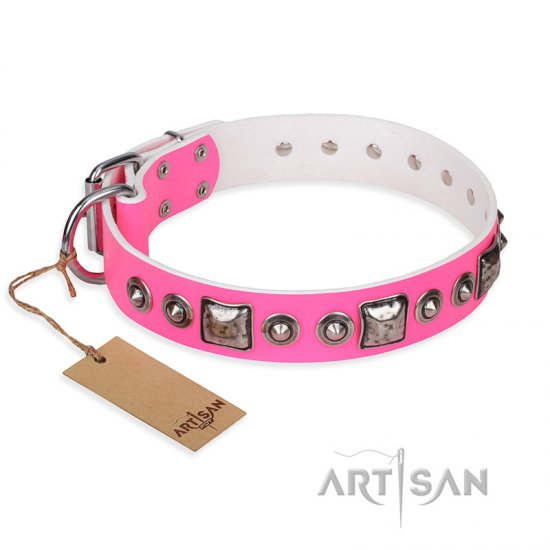 """Pink Dream"" FDT Artisan Leather Central Asian Shepherd Collar with Silvery Decorations"