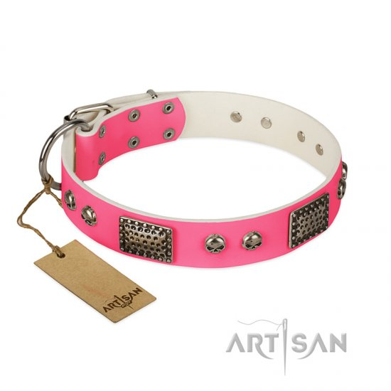 """Fashion Skulls"" FDT Artisan Pink Leather Central Asian Shepherd Collar with Old Silver Look Plates and Skulls"