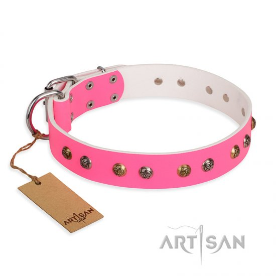 """Sheer love"" Pink Leather FDT Artisan Central Asian Shepherd Collar with Old-look Hemisphere Studs"