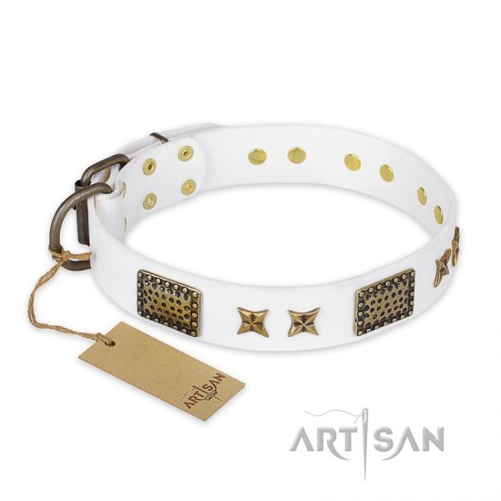 """Hour of Triumph"" FDT Artisan White Leather Central Asian Shepherd Collar"